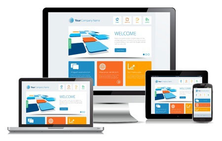 Sample websites created by Winning Technologies shown across a desktop computer, laptop, tablet and phone