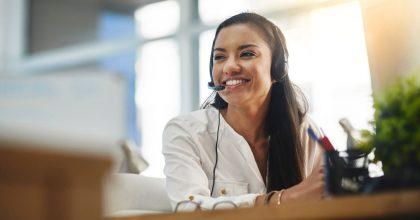 Winning Technologies customer service woman talking on the phone